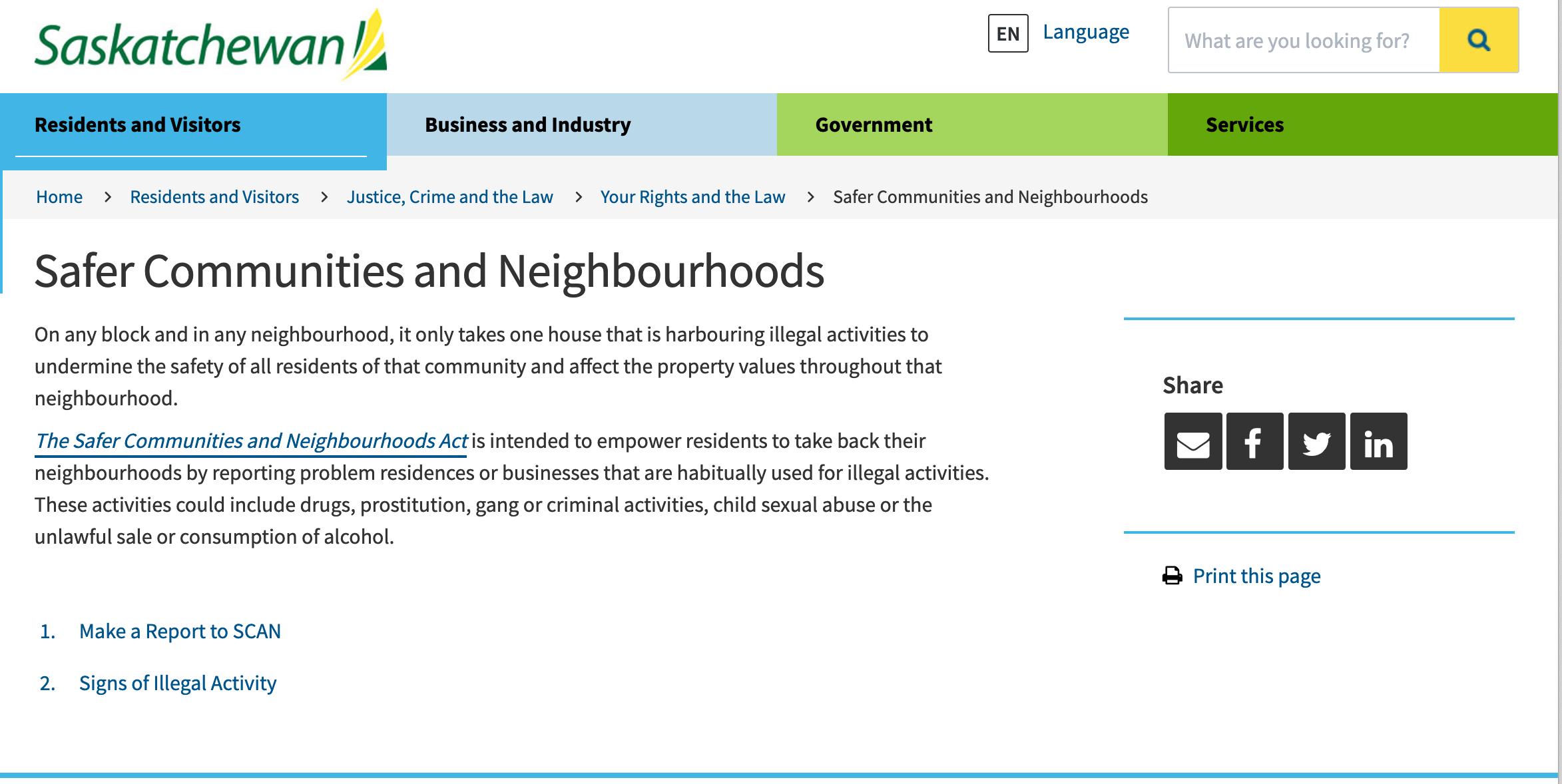 Saskatchewan Safer Communities Screen Capture