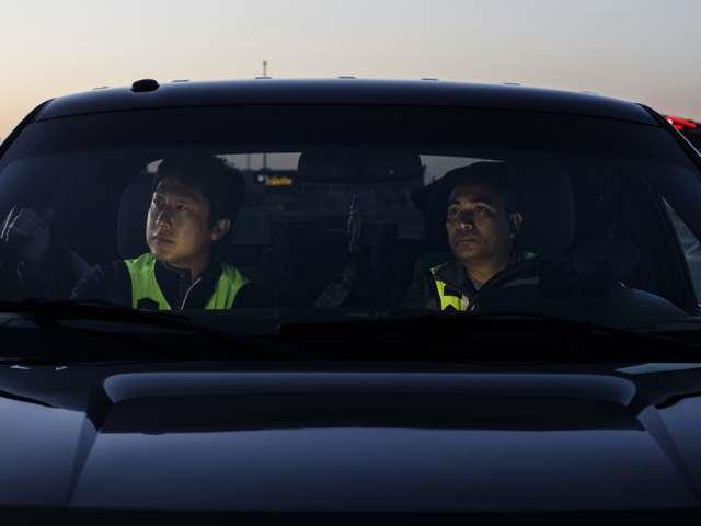 patrols in car